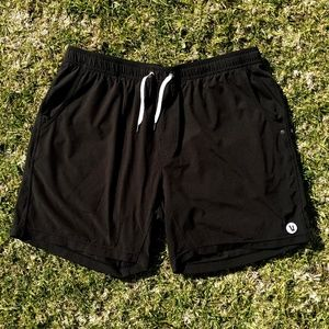 Vuori Men's Black Lined Exercise Drawstring Shorts